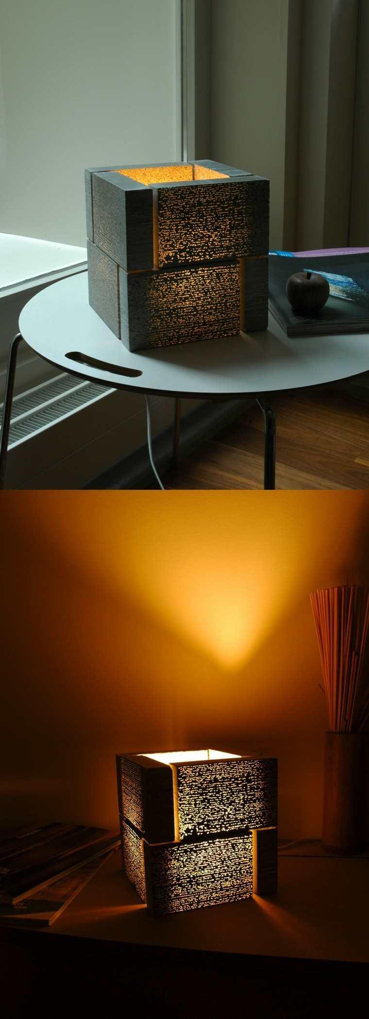 lamparas hechas hormigon ideas modernas bloques