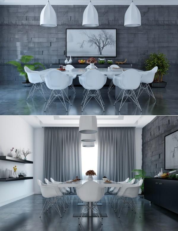 lamparas tres blancas mesa comedor