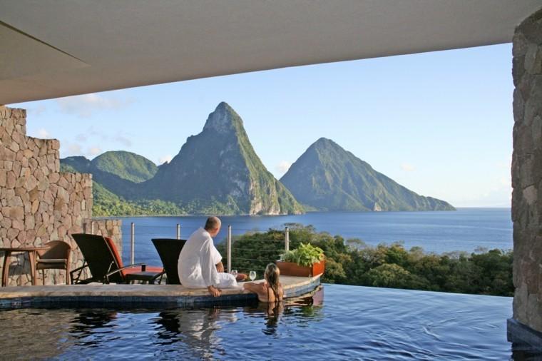 las terraza piscina vista bonita mar