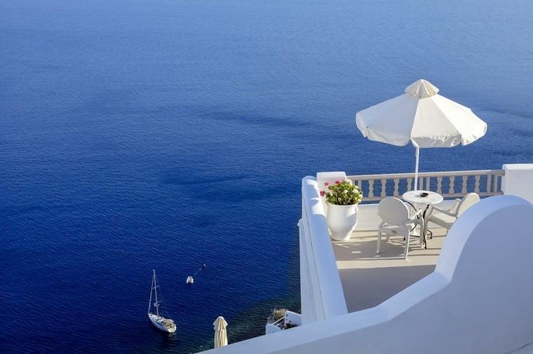 las terraza blanca vista oceano maravillosas