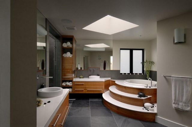 lavabo baño lampara madera amplio luces
