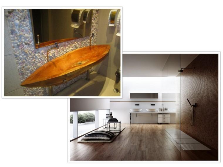 lavabo madera rustico piso diseño