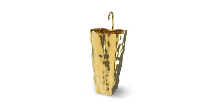 lavabo color oro estilo lujoso