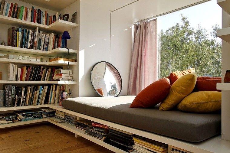lectura estante rincon espejo cortinas
