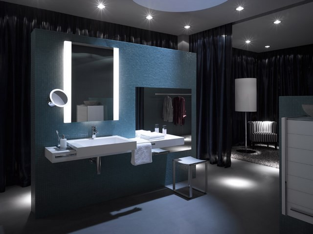 led espejo oscuro cortinas muebles