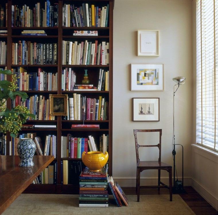 librero estante plantas cuadros elegante