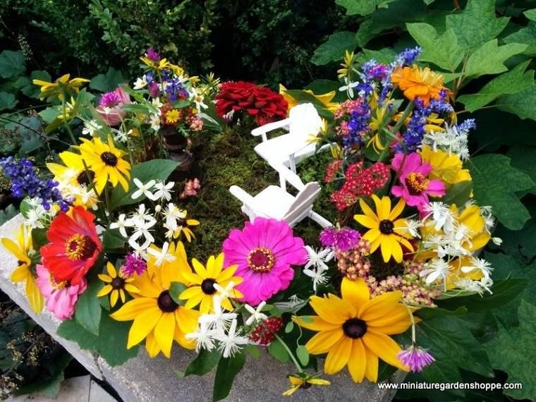 flores sillas jardín mini