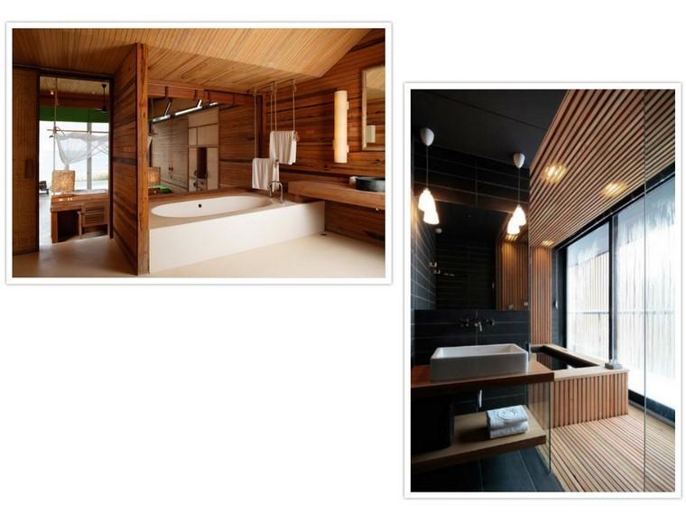 listas madera pared separador led bañera