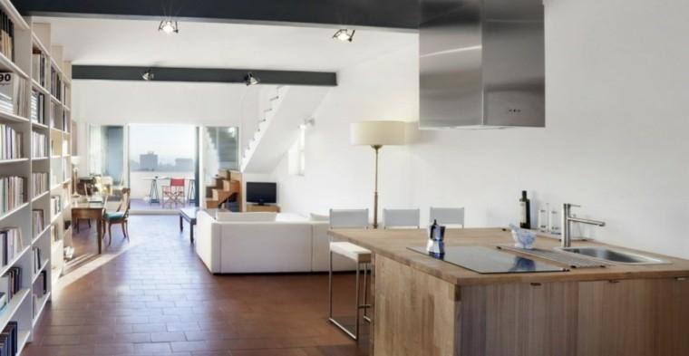 loft piso soltero cocina madera