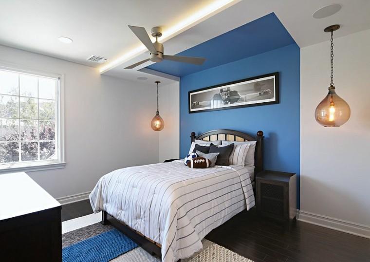 los colores azul oscuro acento habitacion ideas chico