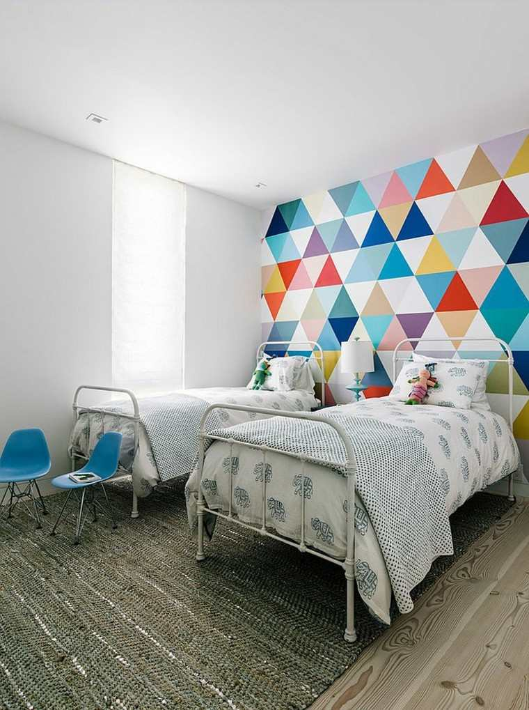 los colores pared formas geometricas moderna triangulos