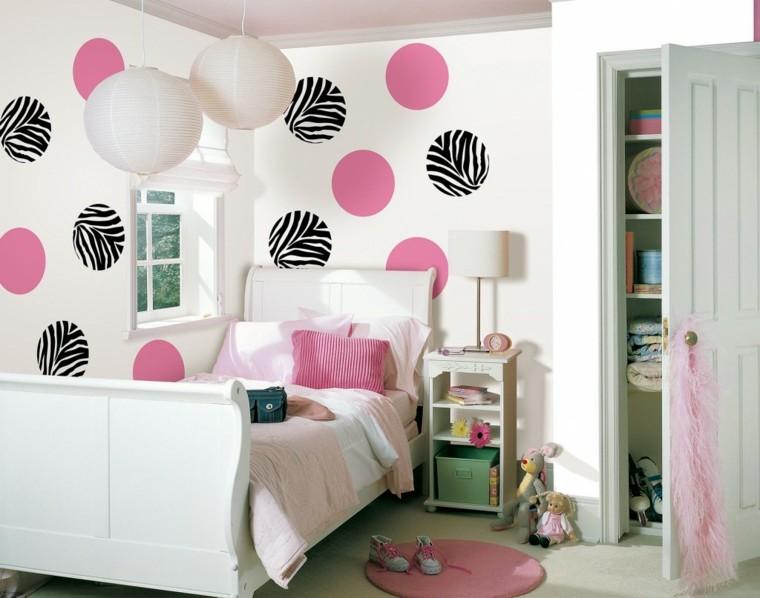 los colores rosa blanco burbujas pared chica ideas
