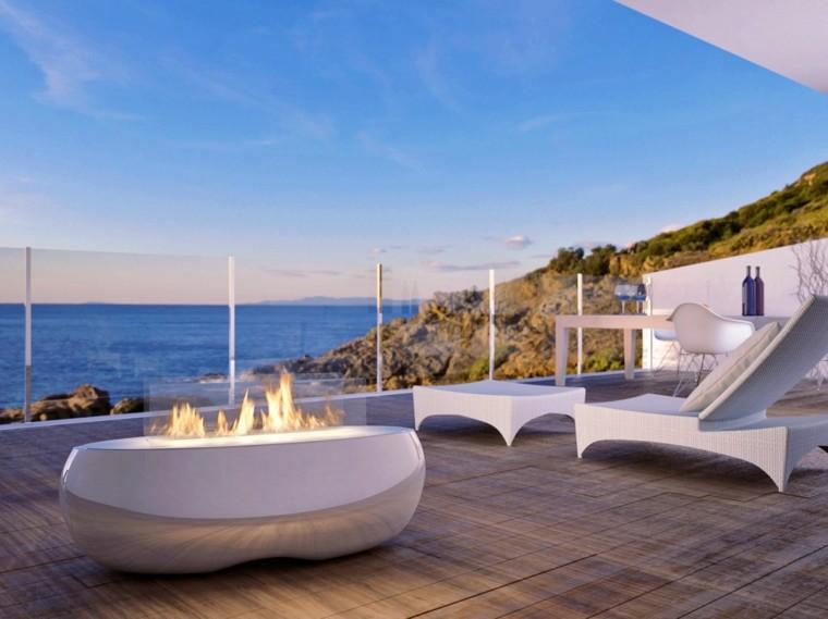 lugar fuego terraza blanco bonito estilo zen