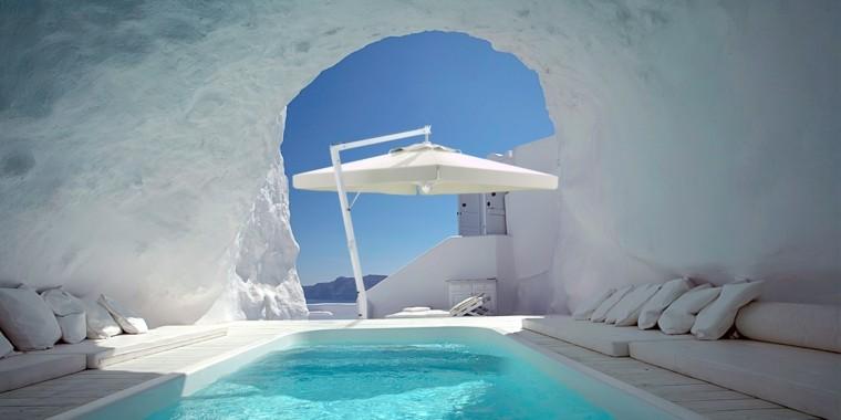 lugar precioso piscina ideas sombrilla blanca