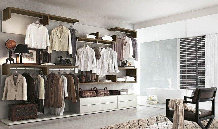 lujoso armario perchas cajones dormitorio blanco