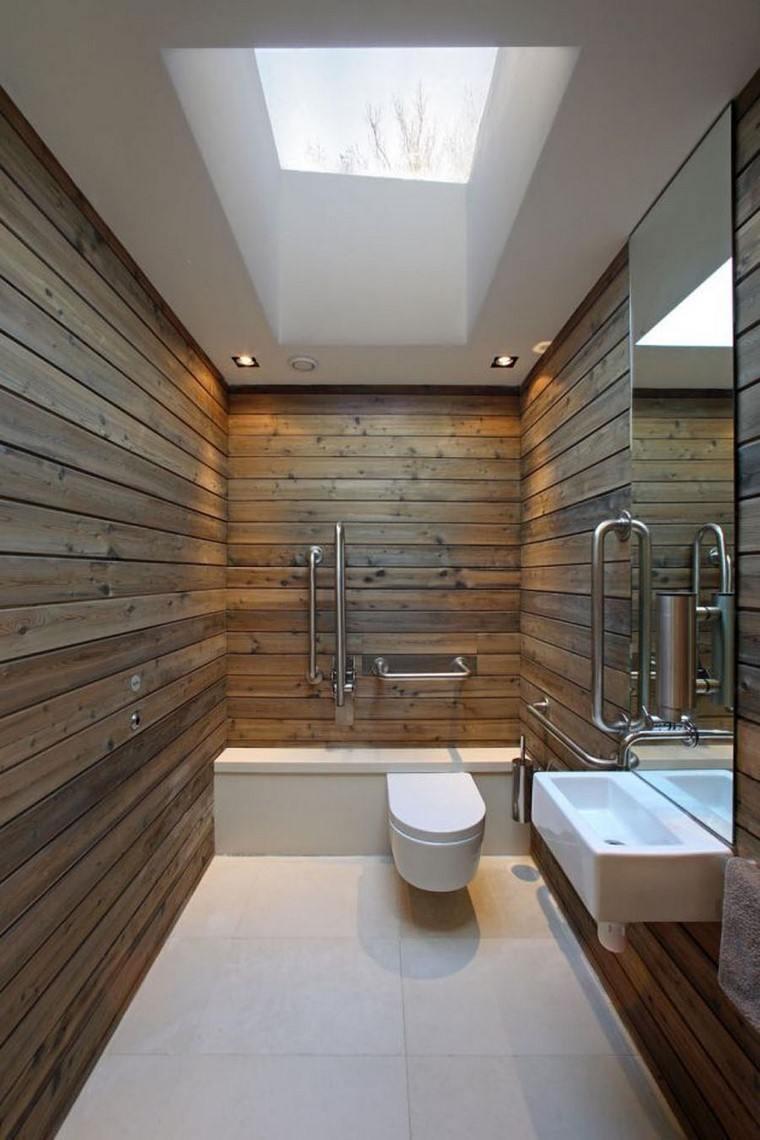 lujoso baño paredes madera estilo ideas minimalista