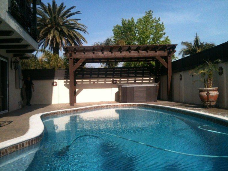 macetas piscina pérgolas palmeras patio