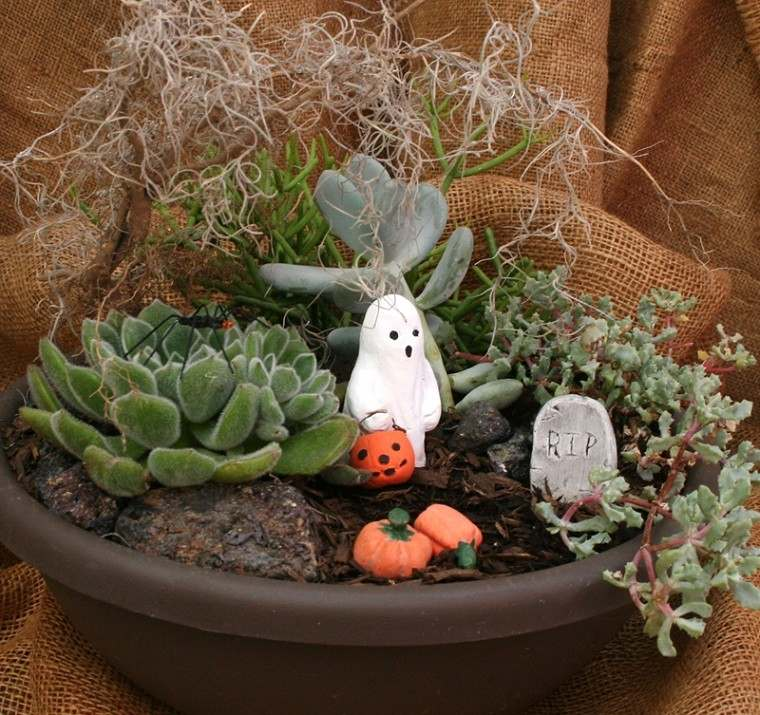 macetero adornado hallowein fantasma blanco