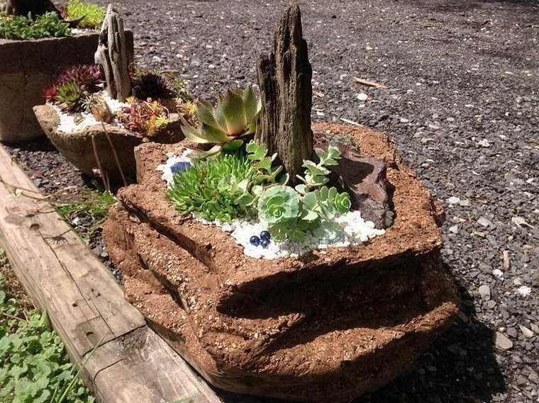 maceteros naturales decorados plantas gravas