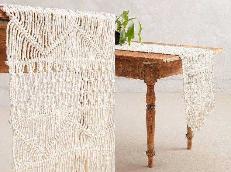 macrame mantel blanco creativo mesa