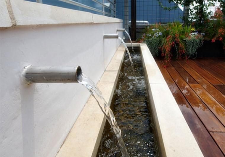 madera agua flores estanque terraza