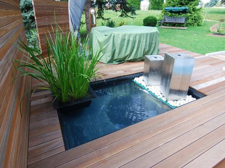 madera agua plantas patio jardin
