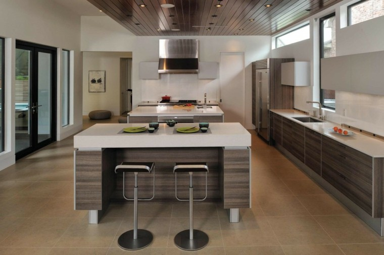 madera calido cocina diseño minimalista