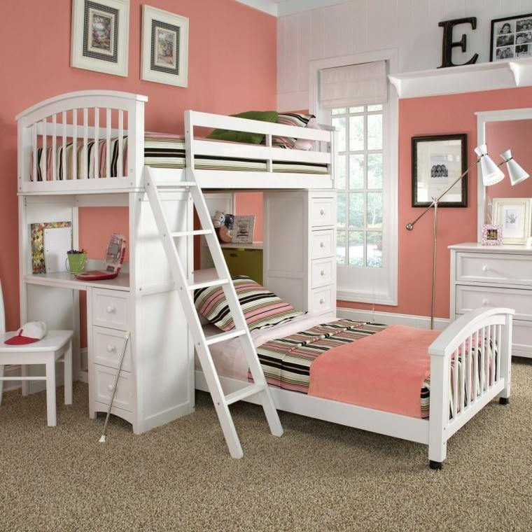 madera cama lineas escalera litera