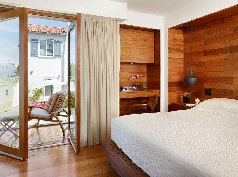 madera diseño casa terraza cortinas