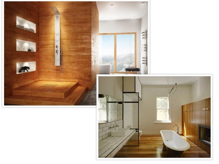 madera ducha piso pared accesorios