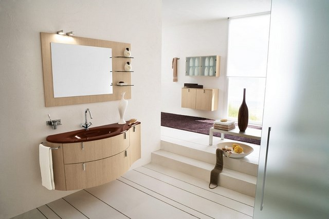 madera espejo escalones jarron muebles