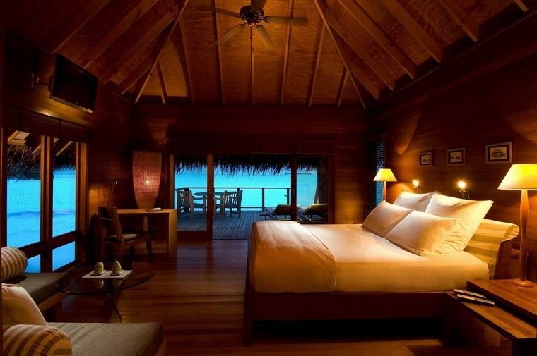 madera estilo lampara luces calido