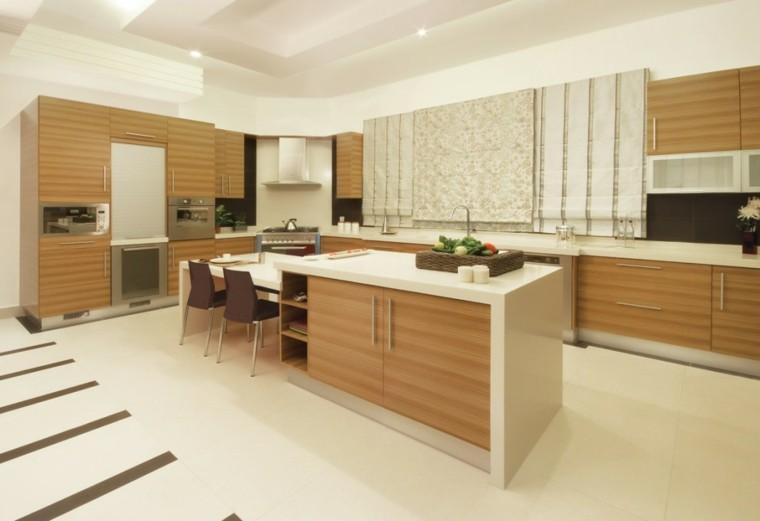 madera flores diseño cocina moderna