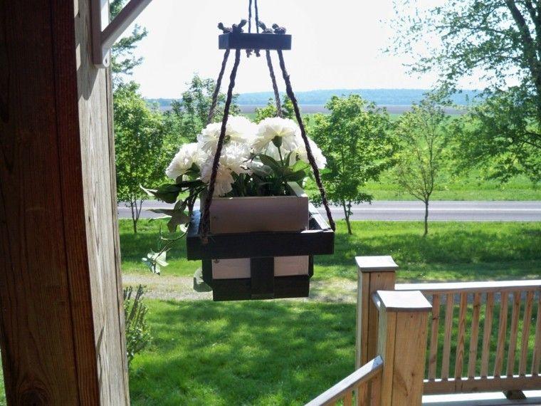 madera flores patio terraza colgante
