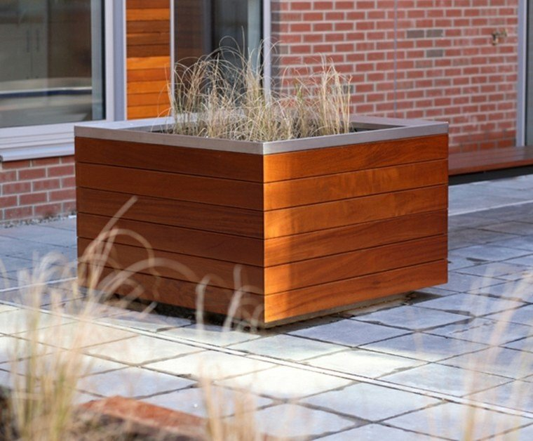 madera hierbas decoracion acero cuadrado