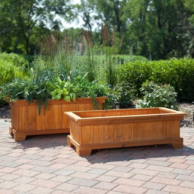 madera jardineras patio grandes plantas