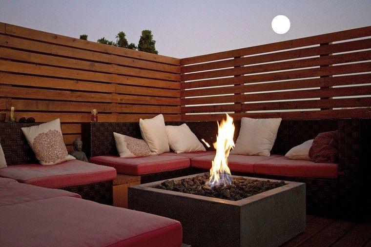 madera luna fuego pozo casa sofá