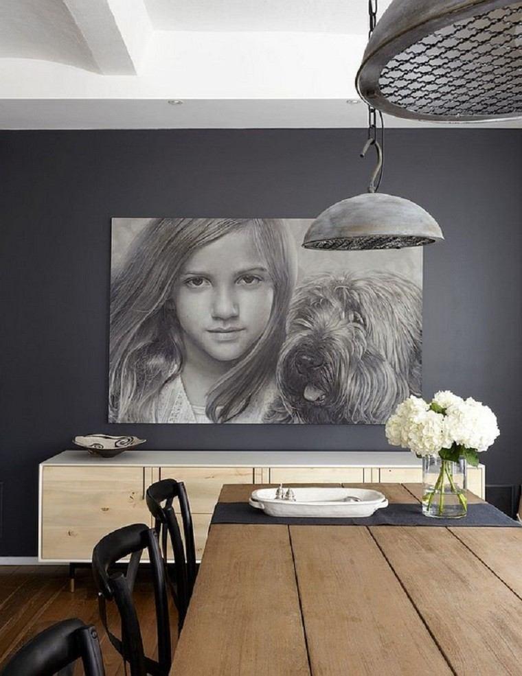 madera mesa cuadro perro lamparas