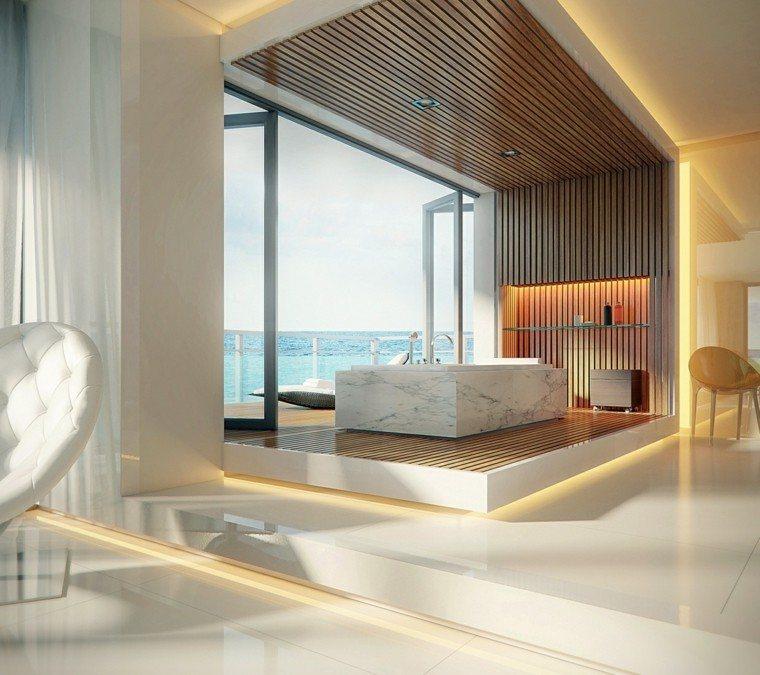 madera sillas mar moderno marmol