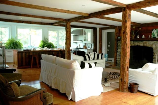 Techo de madera atractivo clasico en tu hogar - Columnas decorativas interiores ...