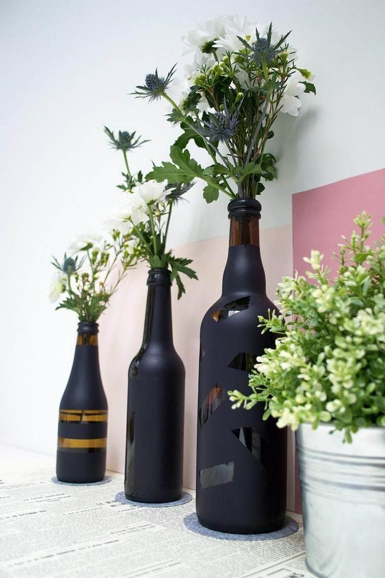 manualidades originales ideas botellas negras bonitas