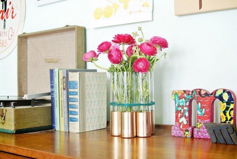manualidades originales varios vasos atados jarron bonito