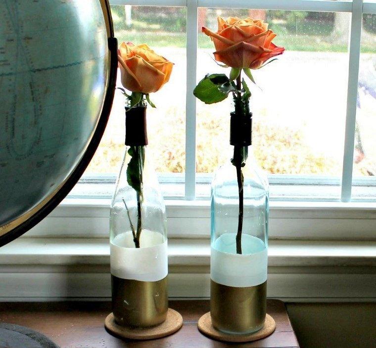 manualidaes originales botellas jarrones decorativos casa