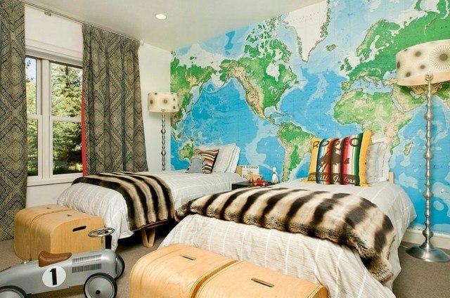 mapa cama decoración lampara  juguetes