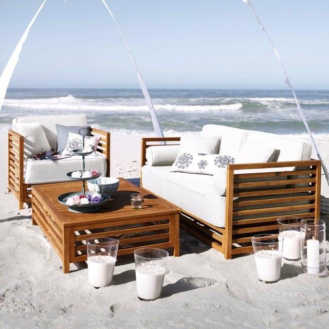 mar jardin vista velas teca mesa bonito