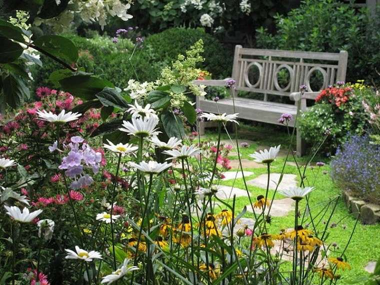 margaritas blancas banco madera jardin
