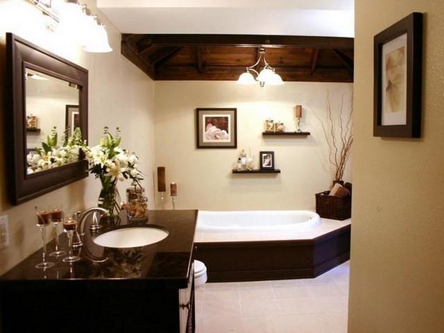 marron elegante bañera comodo calido lampara