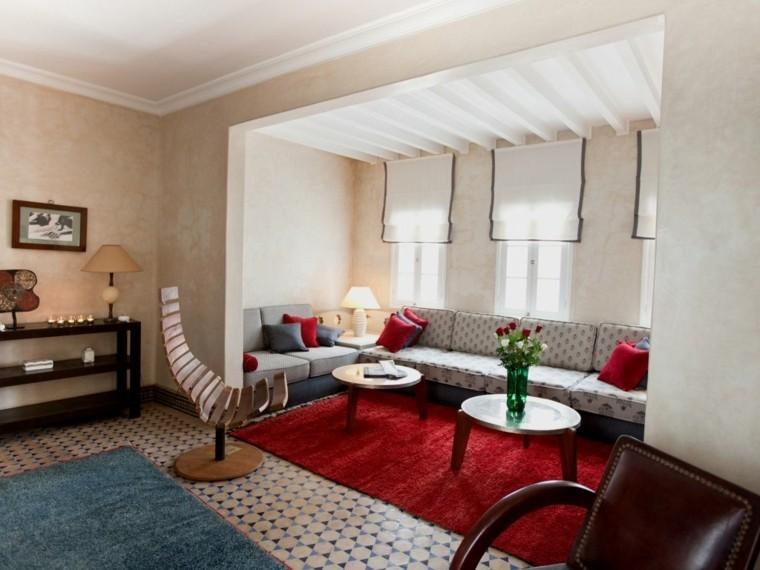 marruecos alfombra rojo mesas moderno pequeñas ideas