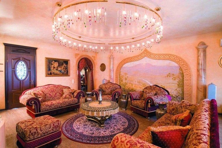 marruecos salon colores vibrantes purpura precioso iluminacion
