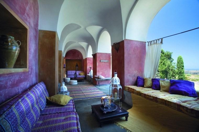 marruecos salon purpura mesa baja faroles ideas